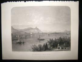 After Hammersley 1859 Antique Print, Drachenfels from Bonn, Germany, Art Journal