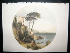 After Hering 1856 Hand Col Art Journal Print. Amalfi, Italy