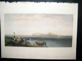 After Hering 1856 Hand Col Art Journal Print. Capri, Italy