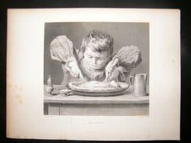 After Hunt 1860 Antique Print. The Attack. Children