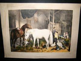 After John Frederick Herring C1850 Antique Print. An English Homestead