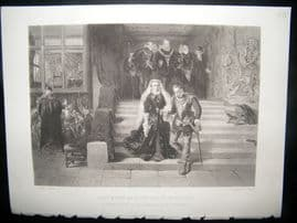 After L. J. Pott 1875 Steel Engraving. Mary Queen of Scots Led to Execution