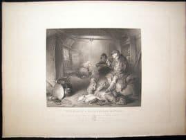 After Landseer C1840 LG Folio Antique Print. Interior of a Highlander's Cottage