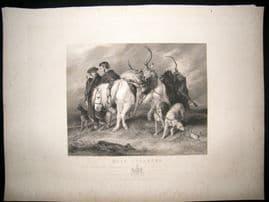 After Landseer C1840 LG Folio Steel Engraving. Deer Stalkers. Horse etc