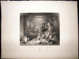 After Landseer C1840 LG Folio Steel Engraving. Interior of a Highland Cottage
