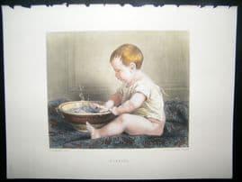 After Lobrichon 1874 Hand Col Art Journal Print. Bubbles, Children