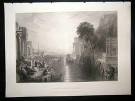 After Turner 1860 Antique Print, Dido building Carthage, Art Journal
