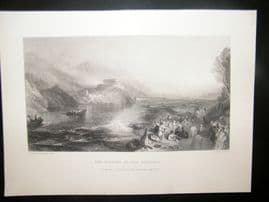 After Turner 1860 Antique Print, Opening of the Walhalla, Germany, Art Journal