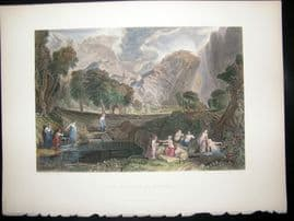 After Turner 1860 Hand Col Antique Print, The Goddess of Discord