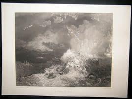 After Turner 1861 Antique Print, A Fire at Sea, Maritime, Art Journal