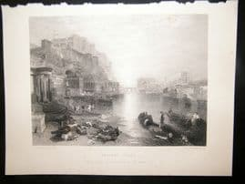 After Turner 1861 Antique Print, Ancient Italy, Art Journal