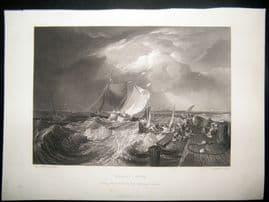 After Turner 1861 Antique Print, Calais Pier, Maritime, France, Art Journal