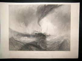 After Turner 1861 Antique Print, Snow-Storm, Maritime, Art Journal