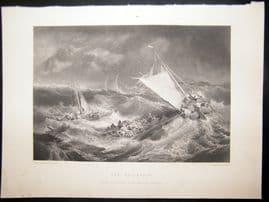 After Turner 1861 Antique Print, The Shipwreck, Maritime, Art Journal
