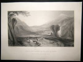 After Turner 1862 Antique Print, Apollo and Daphne in the Vale of Tempe, Italy
