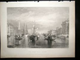 After Turner 1862 Antique Print, Grand Canal, Venice, Italy, Art Journal