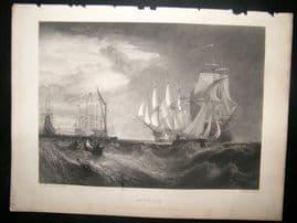 After Turner 1862 Antique Print, Spithead, Naval Ships Maritime, Art Journal