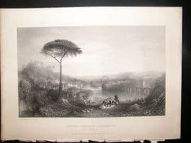 After Turner 1864 Antique Print, Childe Harolld's Pilgrimage, Italy, Art Journal