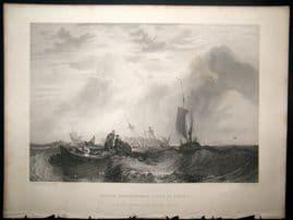 After Turner 1864 Antique Print, Orange Merchentman going to Pieces, Maritime