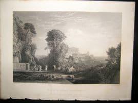 After Turner 1864 Antique Print, Temple of Jupiter Panhellenius, Art Journal