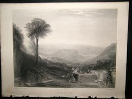 After Turner 1864 Antique Print, View of Ovieto, Italy, Art Journal