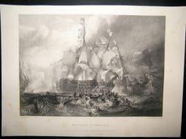 After Turner 1864 Print, The Battle of Trafalgar, Naval Maritime, Art Journal