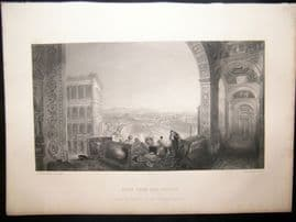 After Turner 1865 Antique Print, Rome from the Vatican, Italy, Art Journal