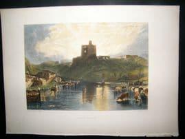 After Turner 1879 Folio Hand Col Print. Norham Castle, UK