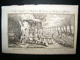 Agriculture C1760 Antique Print. Water Breaking & Heckling Hemp