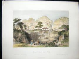 Allom China C1850 Hand Col Print. Ancient Tombs near Amoy