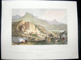 Allom China C1850 Hand Col Print. The Great Temple near Zhehot, Tartary