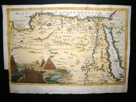 Ancient Egypt, Pyramids Cartouche C1750 Hand Col Antique Map
