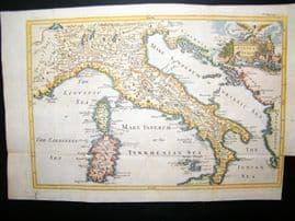 Ancient Italy, Sardinia, Corsica C1750 Hand Col Antique Map