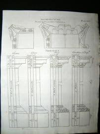 Architecture C1790 Antique Print. Pedestals 61