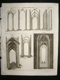 Architecture Print, 1795: Gothic Architecture designs