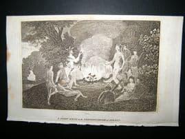 Australia 1818 Antique Print. Aborigine Scene, Sydney