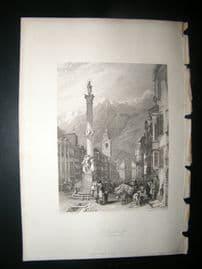 Austria 1838 Antique Print. Innsbruck, Principal Street