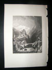 Austria 1838 Antique Print. Landech on the Tyrol