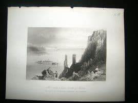 Austria: 1855 Steel Engraving, Theben Castle