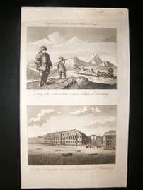 Barlow 1791 Folio Antique Print. Laplanders & St. Petersburg, Russia