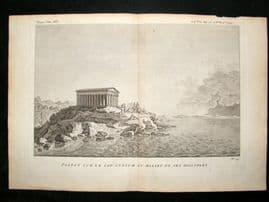 Barthelemy 1790 Antique Print, Parthenon, Greece