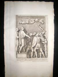 Bartoli 1690 Folio Roman Architectural Print. Relief 25