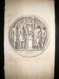 Bartoli 1690 Folio Roman Architectural Print. Relief 35