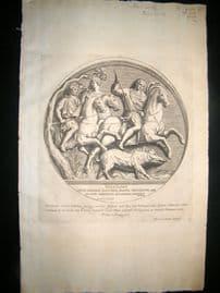 Bartoli 1690 Folio Roman Architectural Print. Relief 36