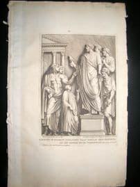 Bartoli 1690 Folio Roman Architectural Print. Relief 50