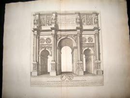 Bartoli 1690 LG Folio Roman Architectural Print. Arch of Constantine, Rome Italy 23