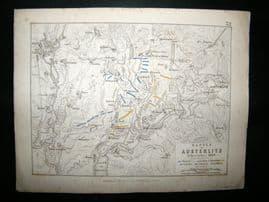 Battle of Amsterlitz, Moravia: 1848 Antique Battle Plan. Johnston