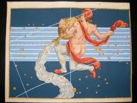 Bayer Uranometria 1661 Folio Hand Col Celestial Map. Aquarius 32