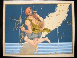 Bayer Uranometria 1661 Folio Hand Col Celestial Map. Auriga 12 Astrology