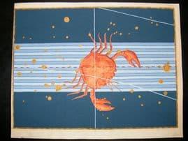 Bayer Uranometria 1661 Folio Hand Col Celestial Map. Cancer 25 Astrology Crab